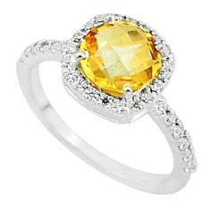 5.55cts solitaire natural yellow citrine topaz round silver ring size 7 t7338