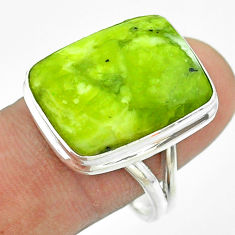 14.65cts solitaire natural yellow lizardite octagan silver ring size 10 t54138