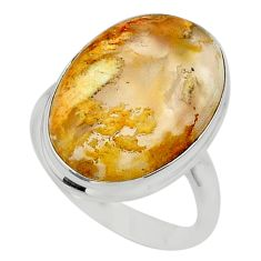17.20cts solitaire natural yellow plume agate 925 silver ring size 11 t24656