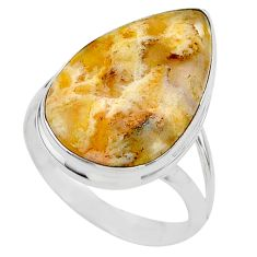 16.70cts solitaire natural yellow plume agate pear silver ring size 11 t24651