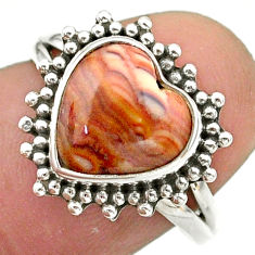 5.03cts solitaire natural yellow snakeskin jasper 925 silver ring size 7 t41610