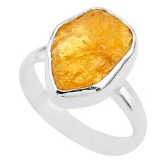6.39cts solitaire natural yellow tourmaline raw 925 silver ring size 7 t33538
