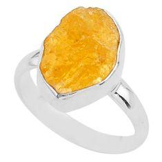 6.03cts solitaire natural yellow tourmaline raw 925 silver ring size 8 t33535
