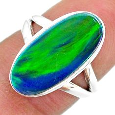 4.06cts solitaire northern lights aurora opal (lab) silver ring size 5 t23329