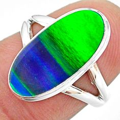 4.25cts solitaire northern lights aurora opal (lab) silver ring size 6 t23328