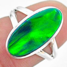 4.04cts solitaire northern lights aurora opal (lab) silver ring size 6 t23337