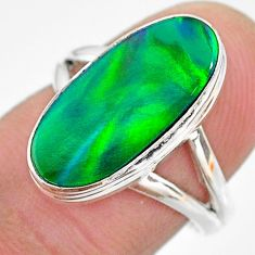 4.68cts solitaire northern lights aurora opal (lab) silver ring size 7 t23321