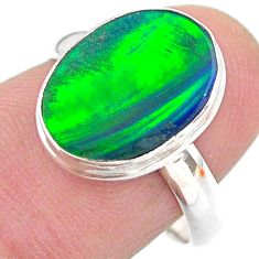 3.50cts solitaire northern lights aurora opal lab silver ring size 7 t24955
