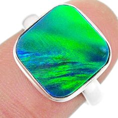 4.21cts solitaire northern lights aurora opal lab silver ring size 7 t24975