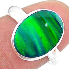 3.73cts solitaire northern lights aurora opal lab silver ring size 8 t24927