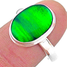 3.88cts solitaire northern lights aurora opal lab silver ring size 9 t24958
