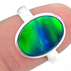 3.93cts solitaire northern lights aurora opal lab silver ring size 7.5 t24937