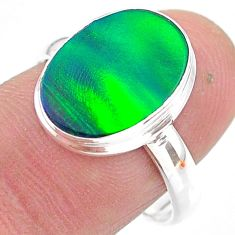 3.90cts solitaire northern lights aurora opal lab silver ring size 8.5 t24941