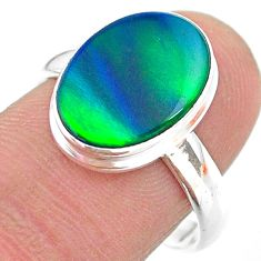 3.87cts solitaire northern lights aurora opal lab silver ring size 8.5 t24945