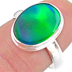 3.72cts solitaire northern lights aurora opal lab silver ring size 6.5 t24946