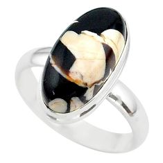 8.94cts solitaire peanut petrified wood fossil 925 silver ring size 10 t39423
