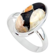 8.98cts solitaire peanut petrified wood fossil silver ring size 10 t38946
