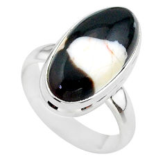 8.31cts solitaire peanut petrified wood fossil silver ring size 6.5 t38955