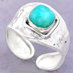 2.42cts solitaire peruvian amazonite 925 silver adjustable ring size 8 t32235