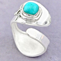 2.69cts solitaire peruvian amazonite 925 silver adjustable ring size 9 t32226