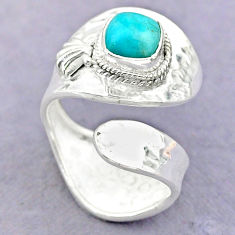 2.41cts solitaire peruvian amazonite 925 silver adjustable ring size 8.5 t32224