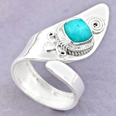 2.42cts solitaire peruvian amazonite 925 silver adjustable ring size 6.5 t32230