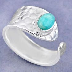 1.43cts solitaire peruvian amazonite 925 silver adjustable ring size 8.5 t47328