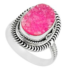 5.60cts solitaire pink druzy 925 sterling silver ring jewelry size 8 t15512