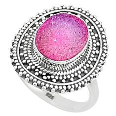 5.31cts solitaire pink druzy 925 sterling silver ring jewelry size 8 t15522
