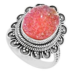 5.31cts solitaire pink druzy oval 925 sterling silver ring jewelry size 7 t15511