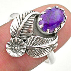 2.68cts solitaire purple copper turquoise 925 silver flower ring size 8 t25202