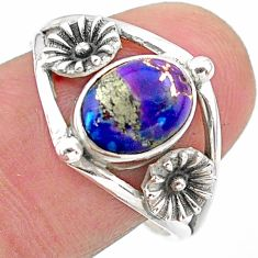 2.09cts solitaire purple copper turquoise 925 silver flower ring size 9 t25156