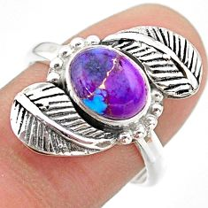 2.12cts solitaire purple copper turquoise 925 silver leaf ring size 7 t25181