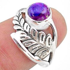 2.28cts solitaire purple copper turquoise 925 silver leaf ring size 6.5 t25093