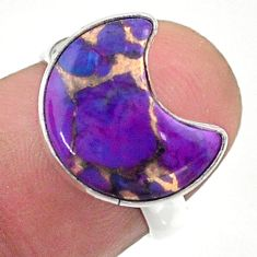 4.51cts solitaire purple copper turquoise 925 silver moon ring size 6 t47785