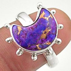 5.83cts solitaire purple copper turquoise 925 silver moon ring size 8.5 t47816