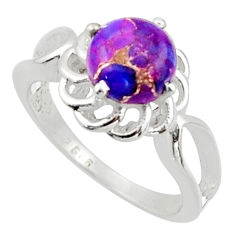3.25cts solitaire purple copper turquoise 925 silver ring size 7.5 r40670