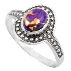 1.81cts solitaire purple copper turquoise 925 silver ring size 8.5 r41932