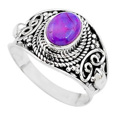 2.01cts solitaire purple copper turquoise 925 silver ring size 7.5 t11143
