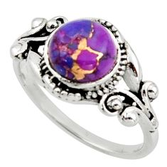 3.01cts solitaire purple copper turquoise 925 sterling silver ring size 7 r40849