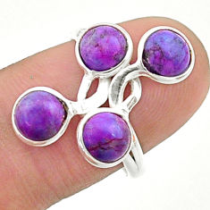 3.94cts solitaire purple copper turquoise 925 sterling silver ring size 7 t19169