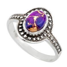 1.81cts solitaire purple copper turquoise 925 sterling silver ring size 8 r41922