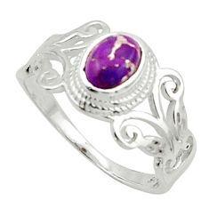 1.74cts solitaire purple copper turquoise oval 925 silver ring size 8.5 r40741