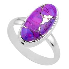 7.67cts solitaire purple copper turquoise oval 925 silver ring size 10 t39009