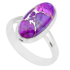 7.67cts solitaire purple copper turquoise oval 925 silver ring size 10 t39017