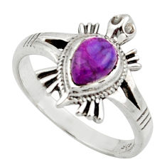 1.63cts solitaire purple copper turquoise silver tortoise ring size 7.5 r40644