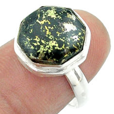5.62cts solitaire pyrite in magnetite 925 silver hexagon ring size 7 t55943