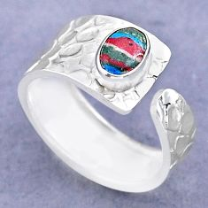 1.42cts solitaire rainbow calsilica 925 silver adjustable ring size 8 t47308