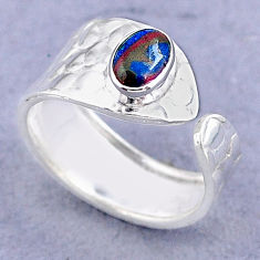 1.42cts solitaire rainbow calsilica 925 silver adjustable ring size 8 t47459