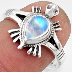 1.51cts solitaire rainbow moonstone 925 silver tortoise ring size 7 r41935
